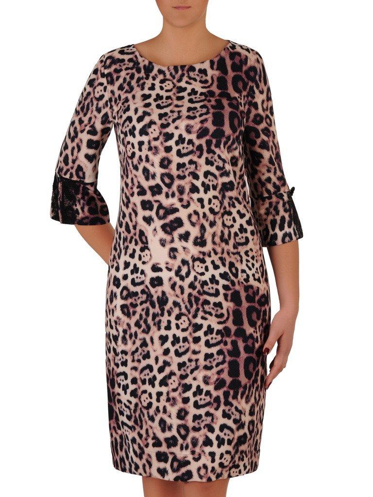 714f7c628c Trapezowa sukienka w modną panterkę 18508. Kliknij