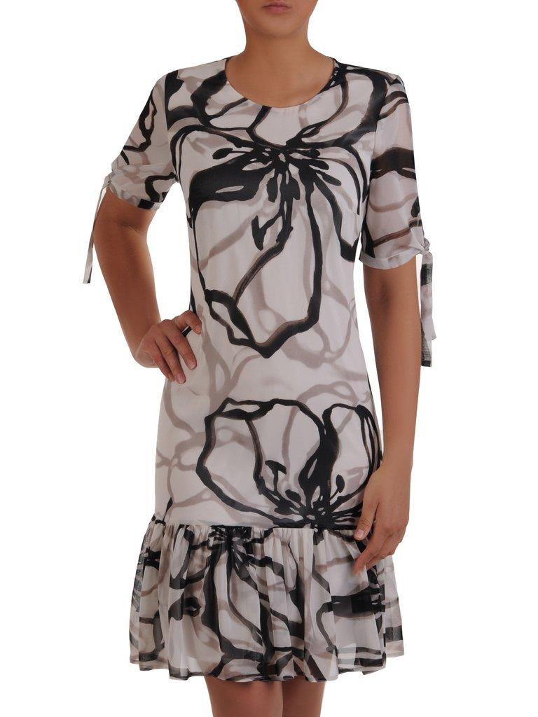 507737aea9 Trapezowa sukienka z falbaną 16703