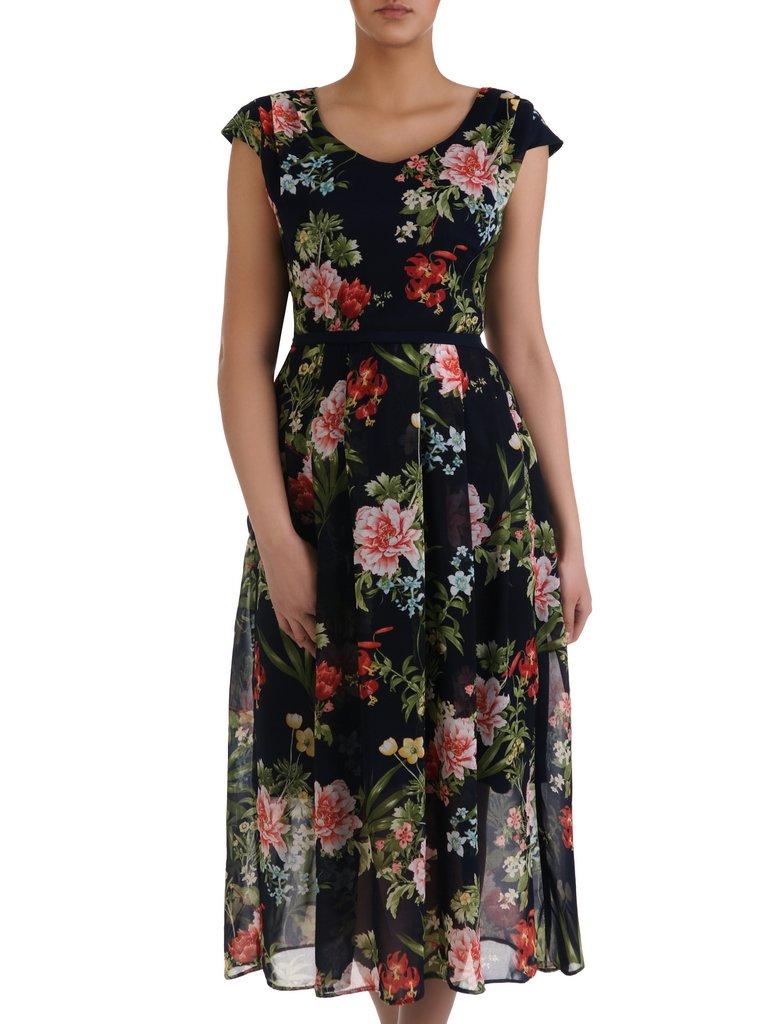 1dac55972147a6 Wzorzysta sukienka z szyfonu 15915, zwiewna kreacja w kwiaty ...